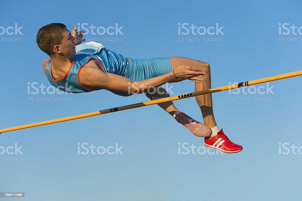 High jump competition stock photo