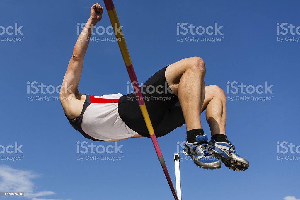 high jump in track and field stock photo