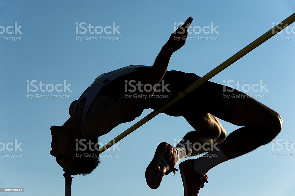 High jump silhouette stock photo