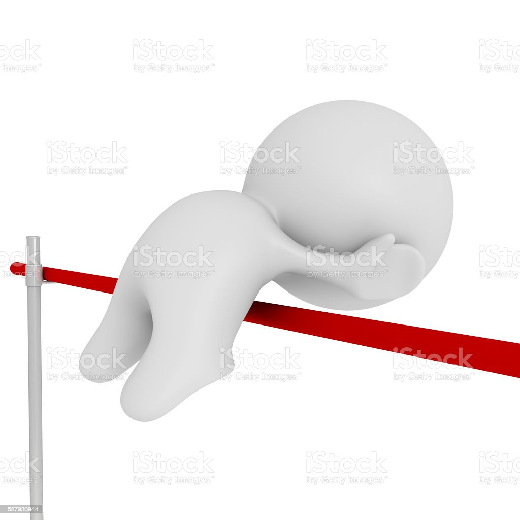 high jumping white human 3d character stock photo
