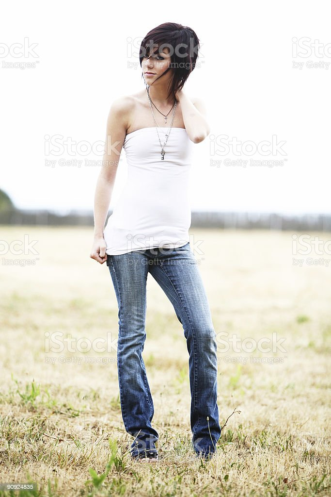 High Key Brunette in a Field royalty-free stock photo