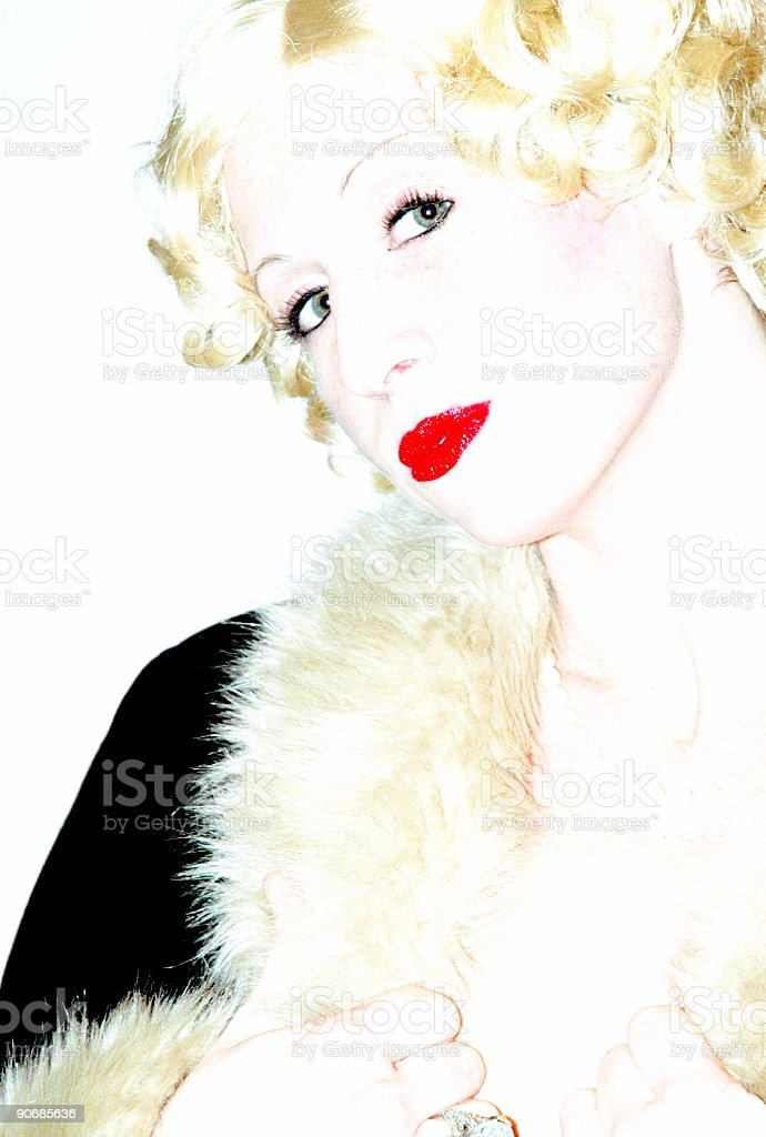 High Key Forties Girl Portrait royalty-free stock photo