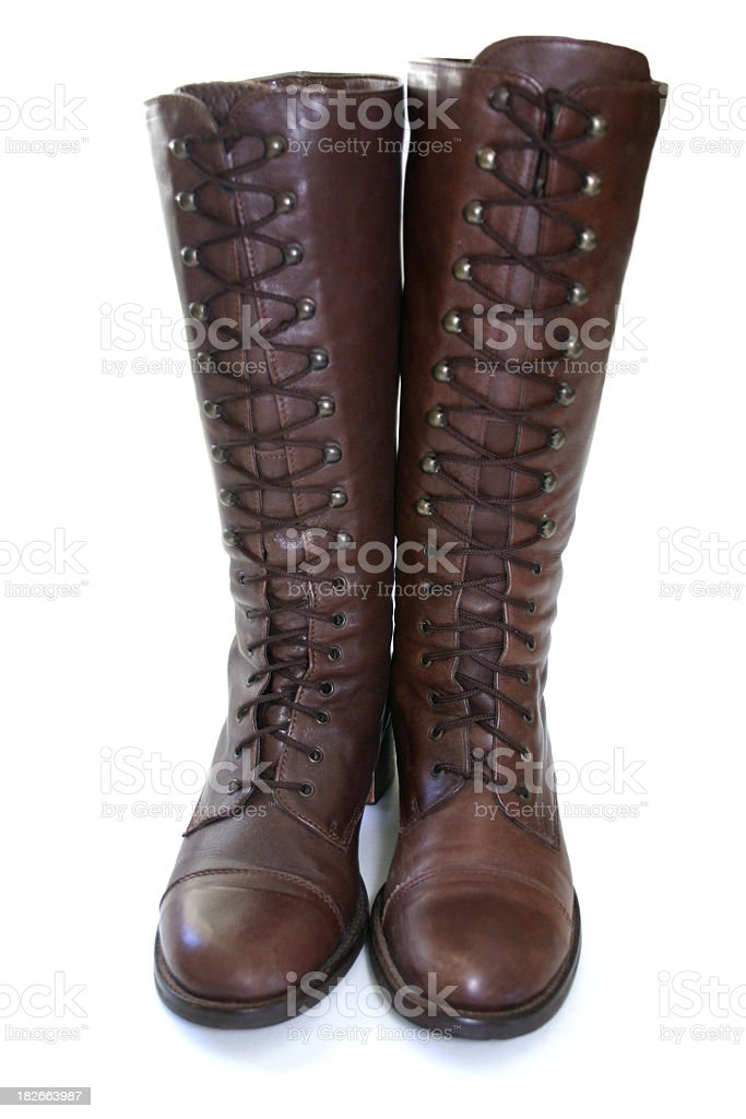 high lace-up old style boots stock photo