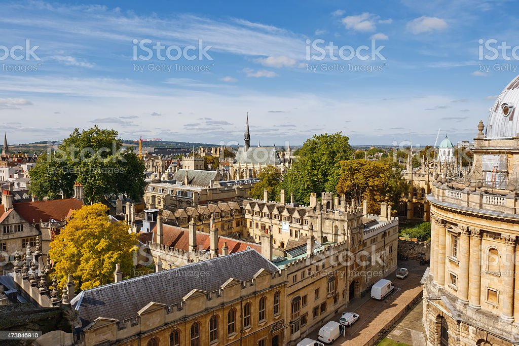 A high landscape view of Oxford in the United Kingdom stock photo