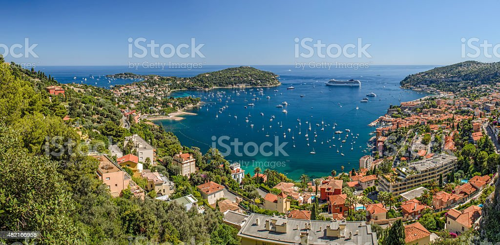 High Level Panorama of Viilefranche Cote d'Azur stock photo