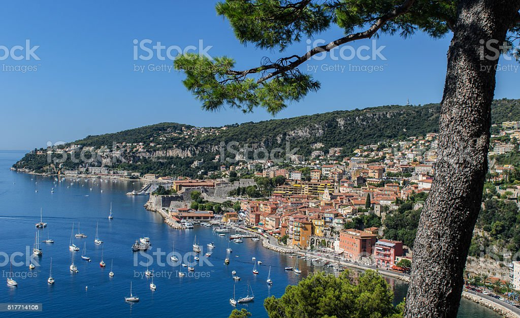 High level view of the Bay of Villefranche, Cote d'Azur stock photo