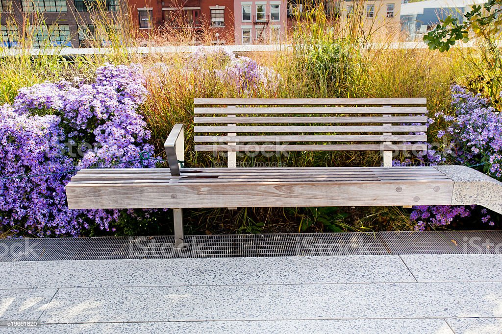 High Line Park Bench NYC stock photo