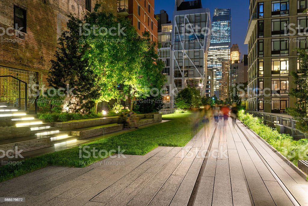 High Line promenade at Twilight, Chelsea, Manhattan, New York City stock photo