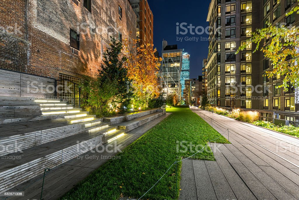 High Line promenade in evening, Chelsea, Manhattan, New York City stock photo