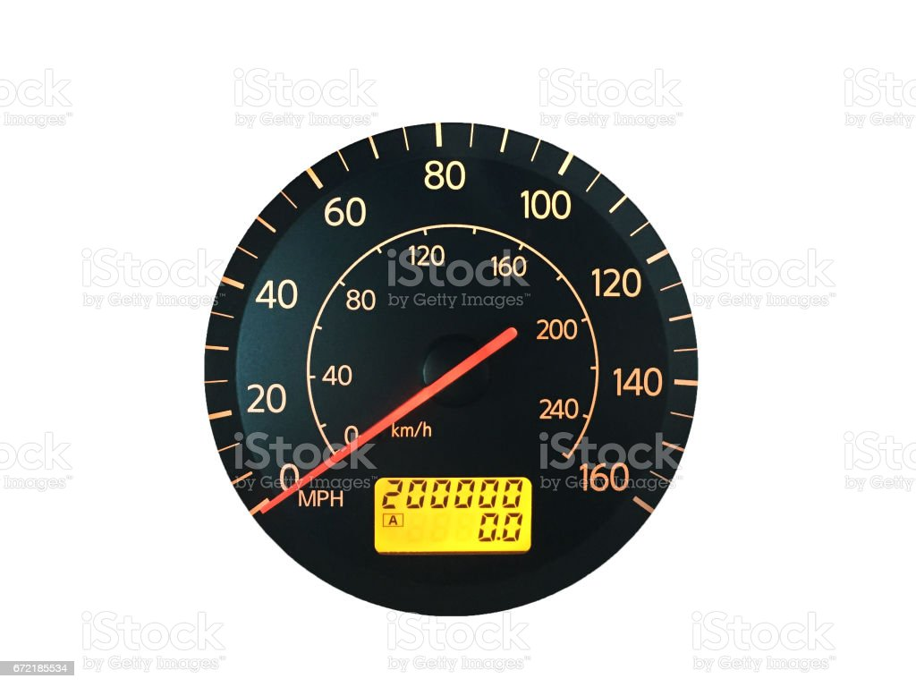 High Mileage Odometer Isolated on White stock photo
