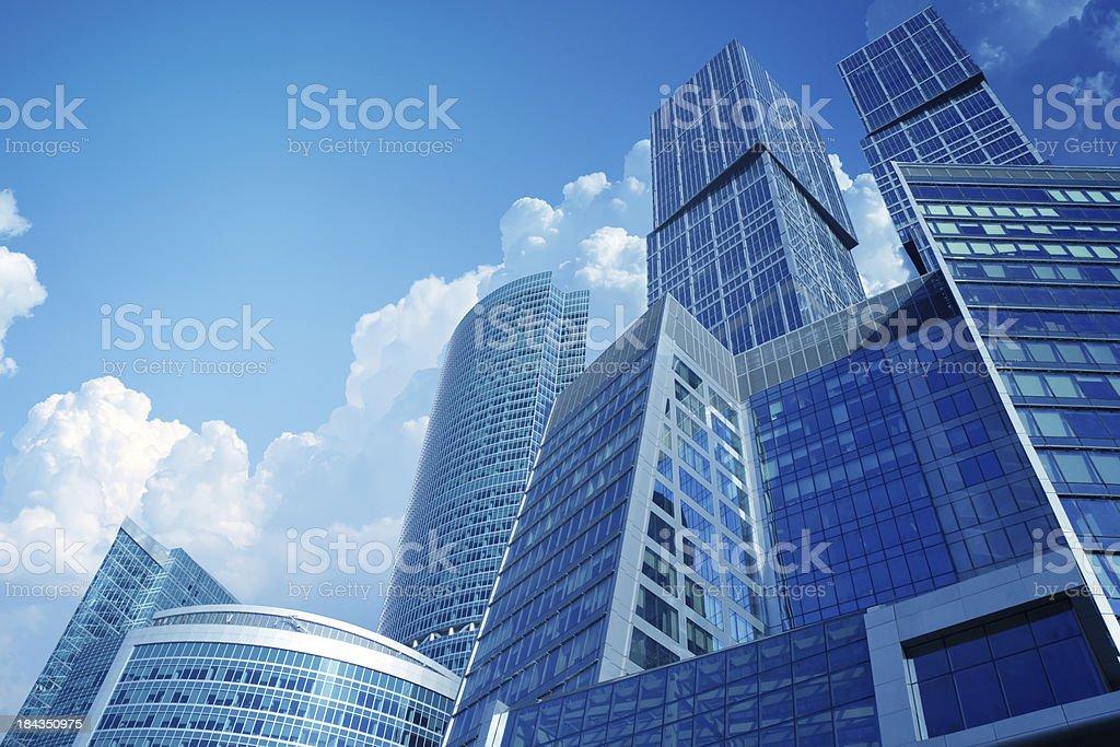 High modern skyscrapers over blue sky stock photo