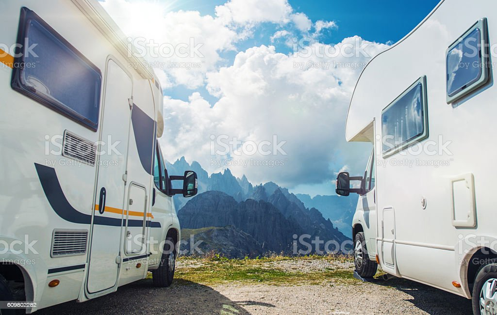 High Mountain Camper Camping stock photo