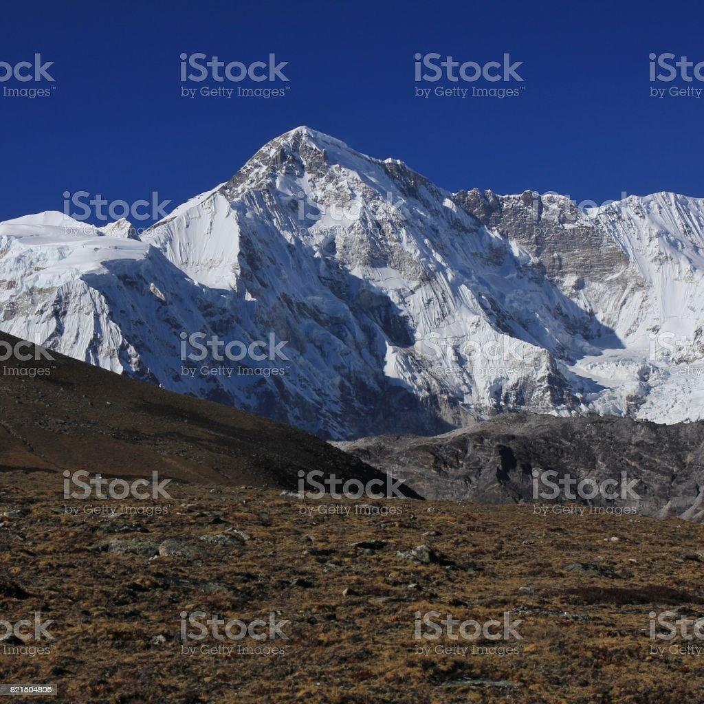 High mountain Cho Oyu, also named Qowowuyag stock photo