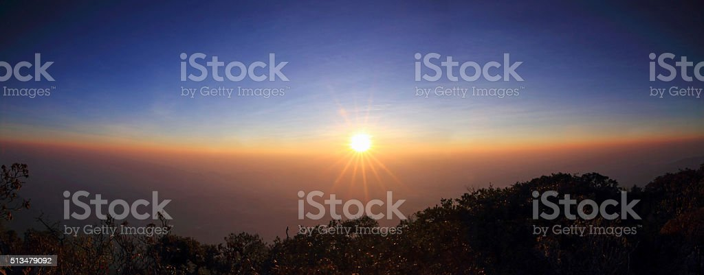 high mountain in sunset time stock photo