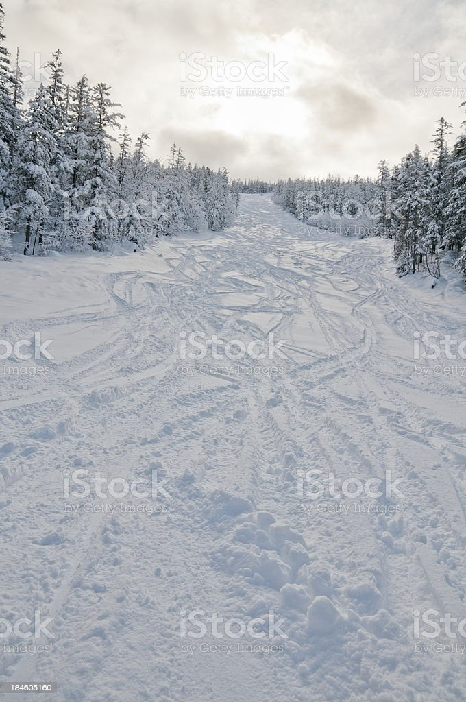 High mountain landscape ski traks stock photo