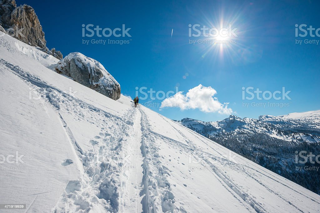High Mountain Landscape with Alpinists stock photo