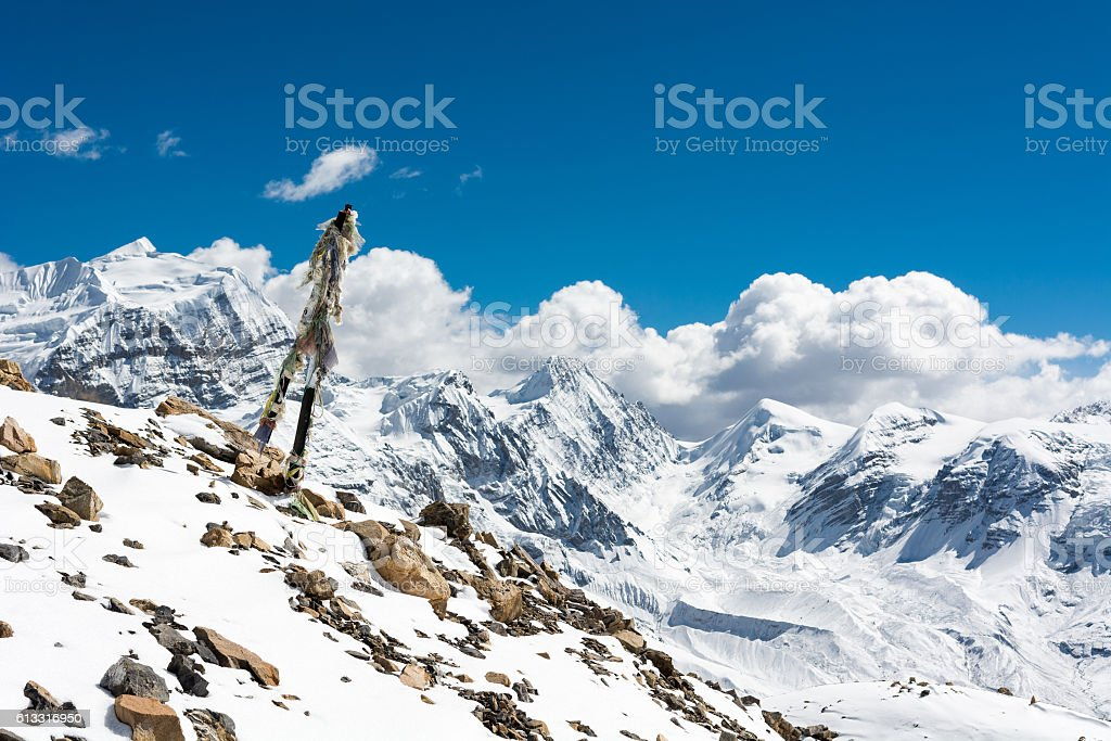High mountain landscape with Praying flags. stock photo