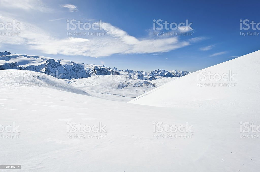 High mountain landscape with sun stock photo