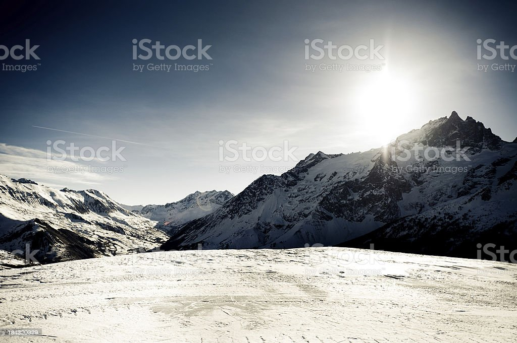 High mountain landscape with sun royalty-free stock photo
