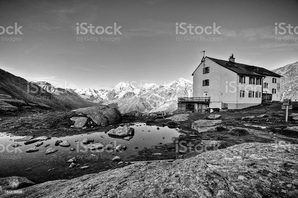 High mountain shelter stock photo