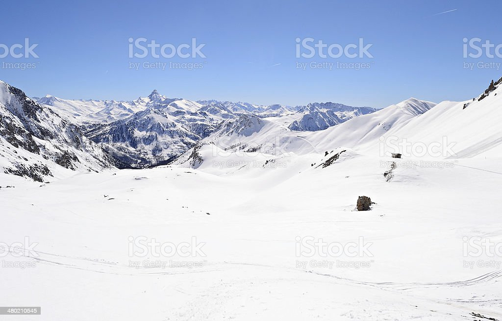 High mountain ski resort royalty-free stock photo