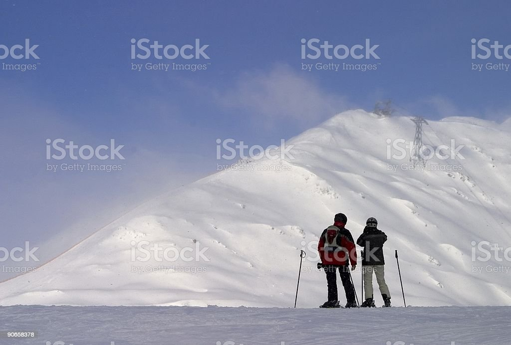 High mountain skiing royalty-free stock photo