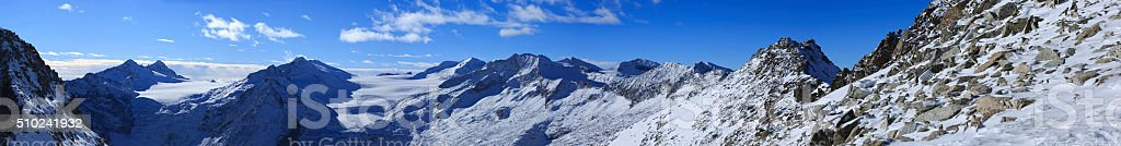 High mountain snow landscape  Winter panorama stock photo