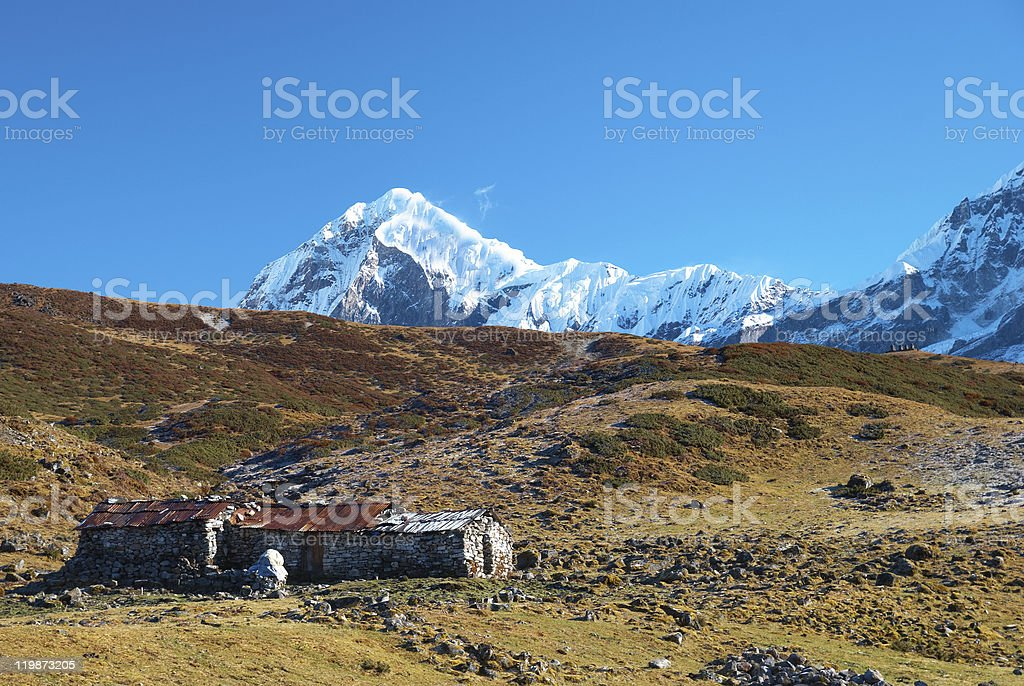 High mountains, covered by snow. stock photo