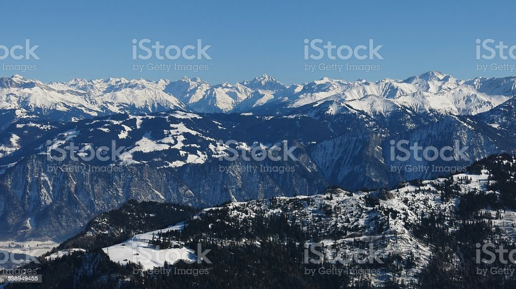 High mountains in Graubuenden Canton stock photo