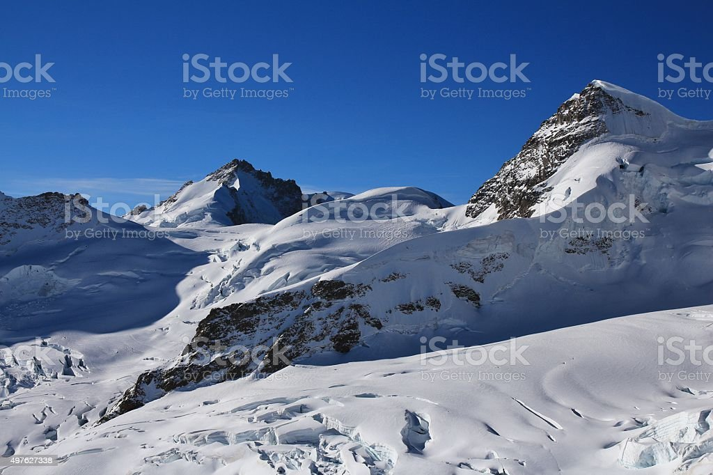 High mountains Mt Gletscherhorn and Mt Rottalhorn stock photo