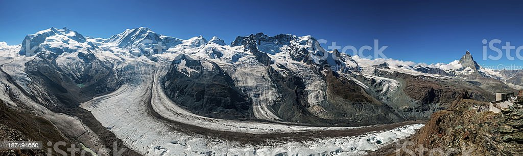 High mountains of Pennine Alps in Switzerland (panoramic) - V stock photo
