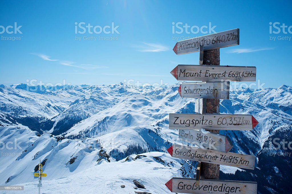 High mountains sign in the Alps stock photo