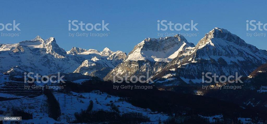High mountains Uri Rotstock, Schwalmis and Brisen stock photo