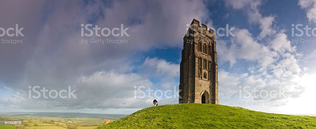 High on Glastonbury Tor royalty-free stock photo
