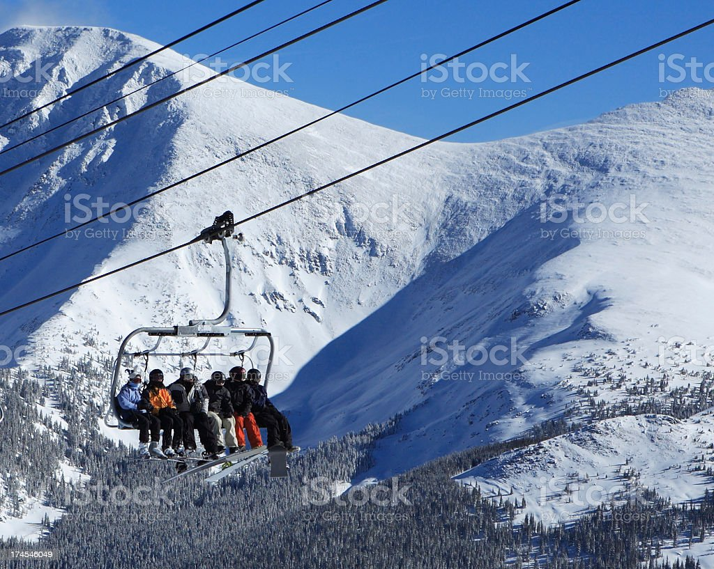high on the ski lift royalty-free stock photo