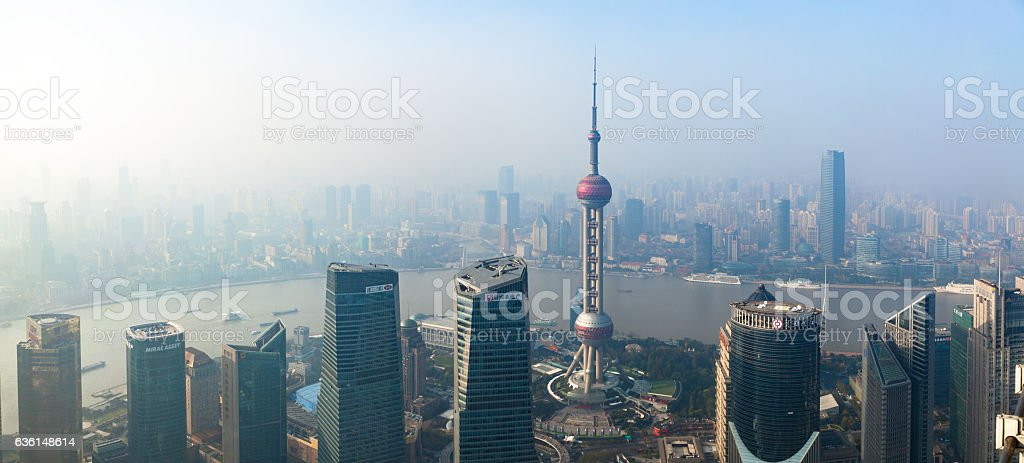 High Panoramic View of Smog Covering Shangahi, China stock photo
