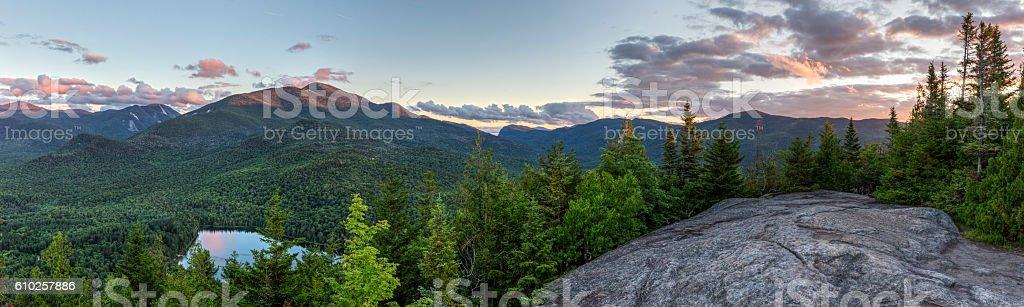 High Peaks Sunset Panorama from Mount Jo stock photo