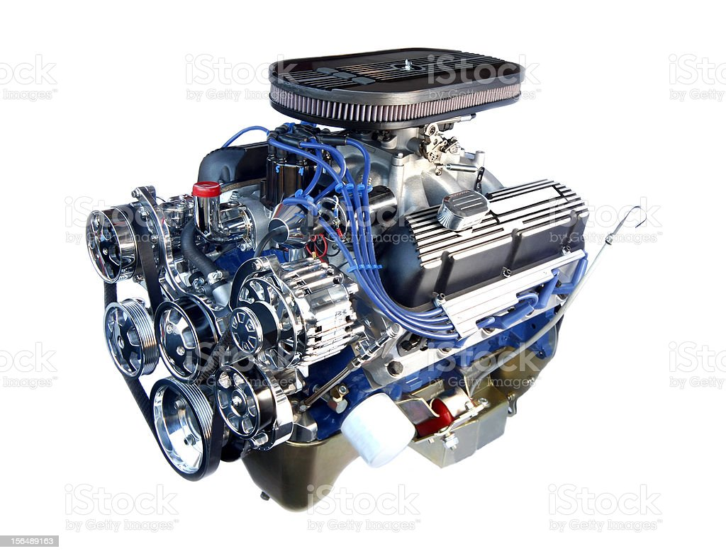 High Performance Chrome V8 Engine Isolated on White royalty-free stock photo