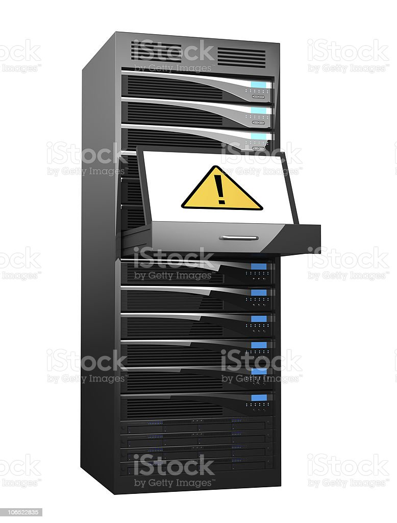 High Performance Servers With Warning Sign royalty-free stock photo