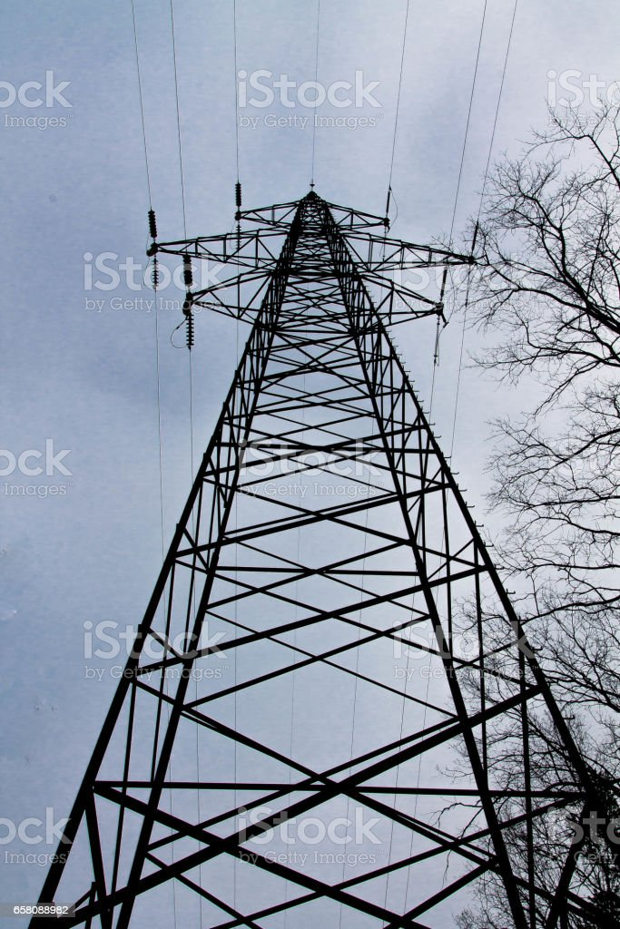 High pole mains. Electricity. High voltage network. stock photo