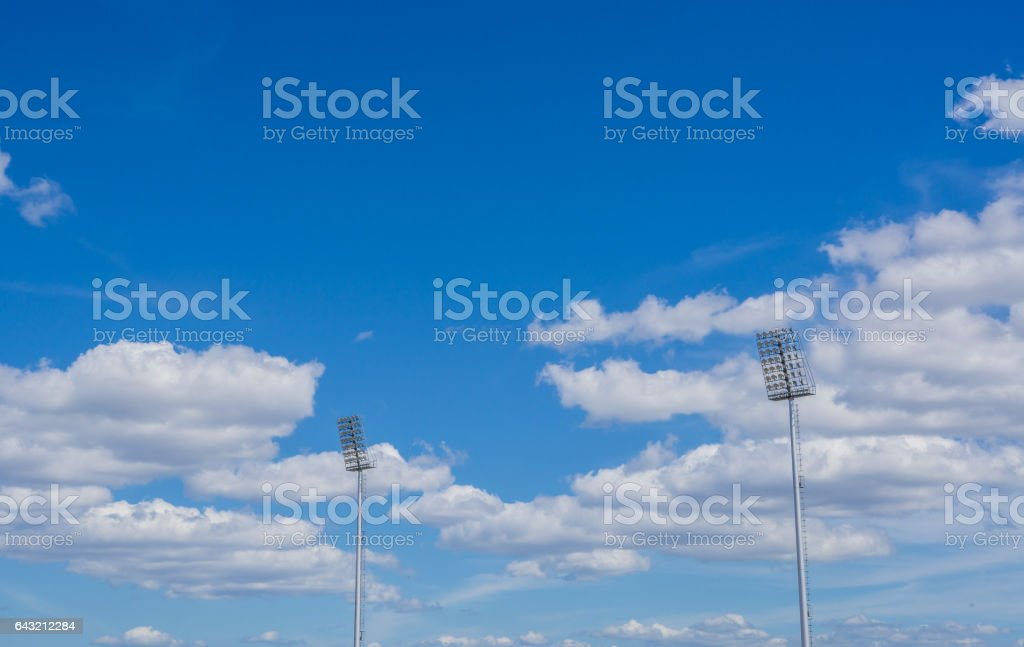 high pole Spotlight Stadium lights stock photo