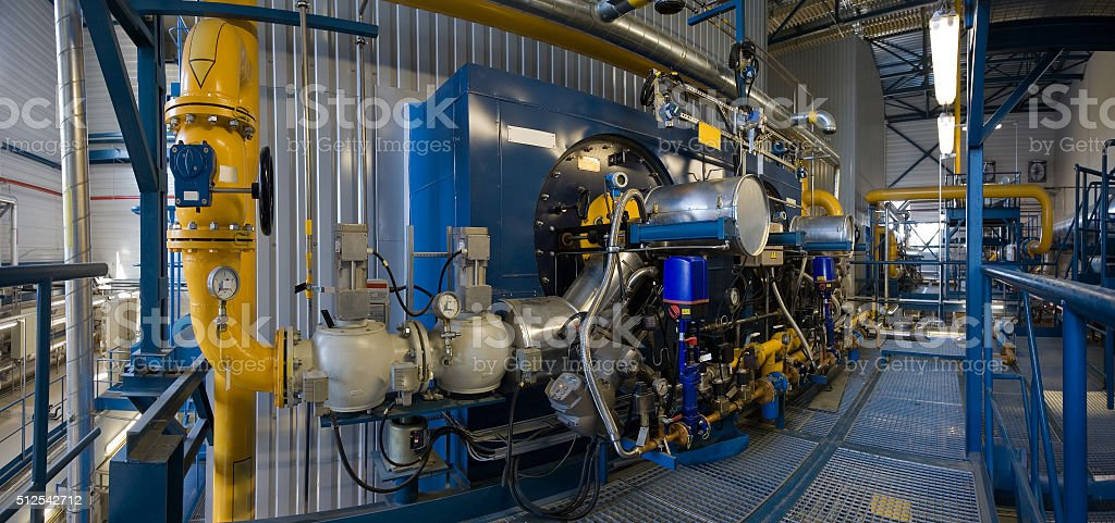High power boiler burners stock photo