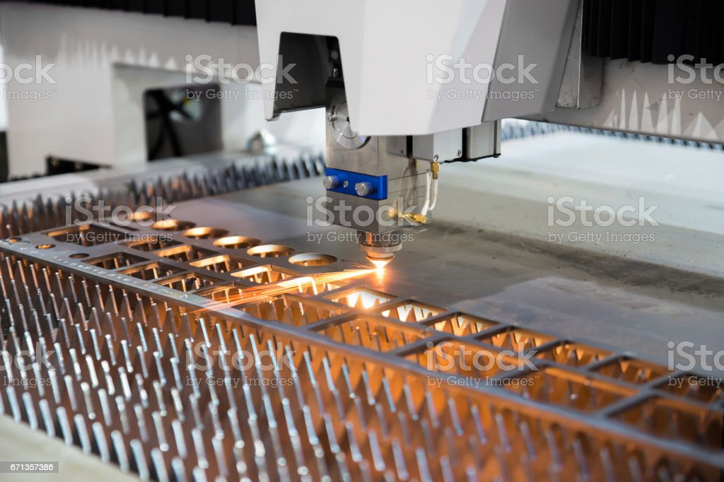 High precision CNC gas cutting metal sheet working in industry factory. Smart industry factory concept. stock photo