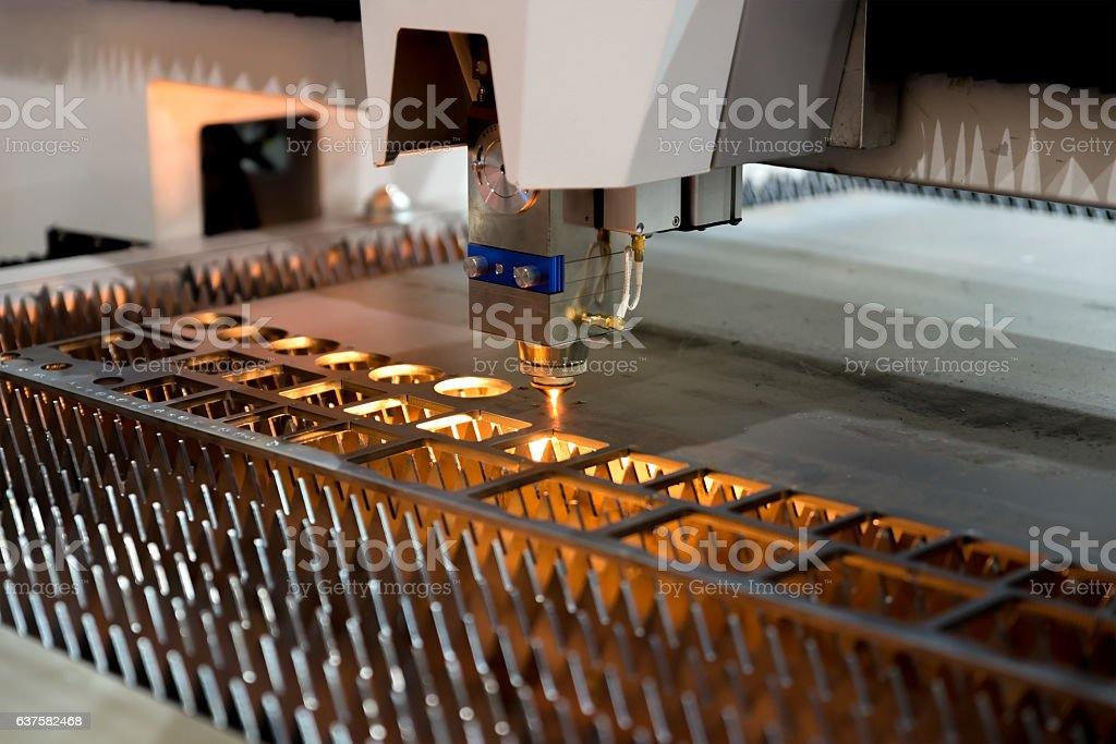 High precision CNC laser cutting metal sheet and metal pipe stock photo
