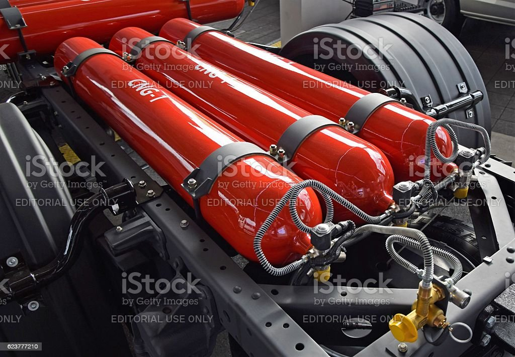 High pressure CNG cylinder tanks in the truck chassis stock photo