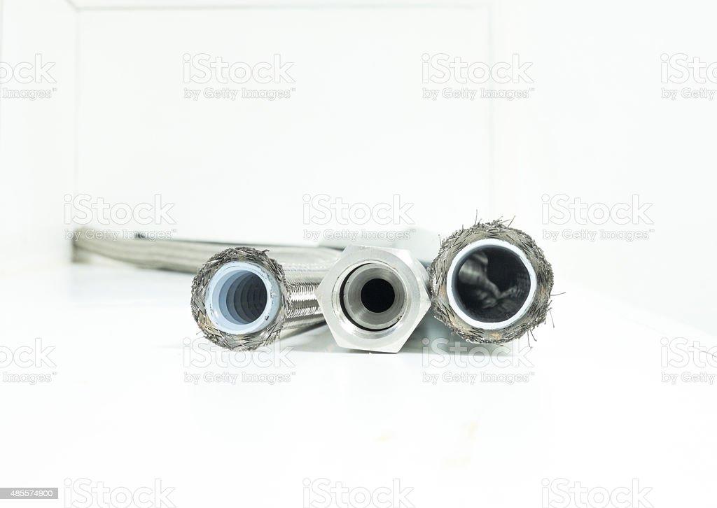 High pressure compressed air tube stock photo