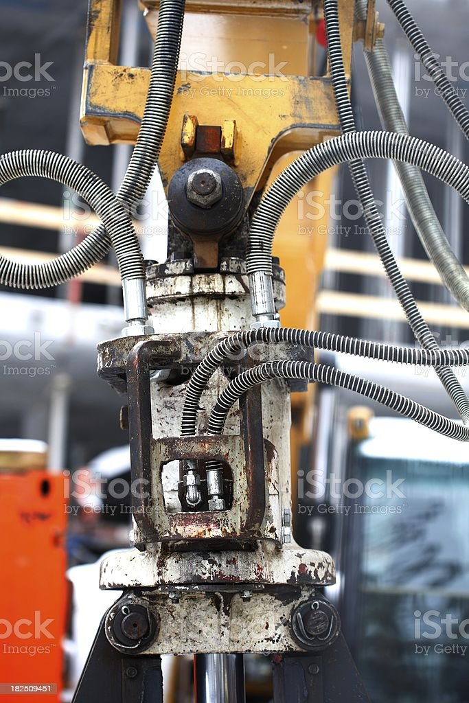 high pressure tubes on a digger royalty-free stock photo