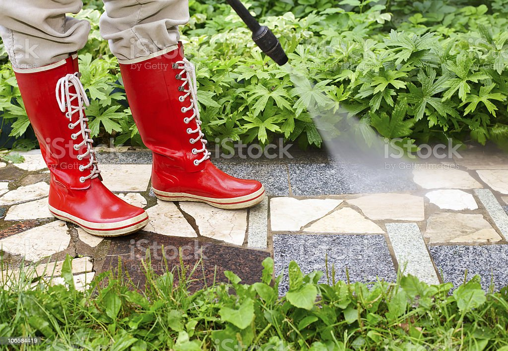 High pressure washing royalty-free stock photo