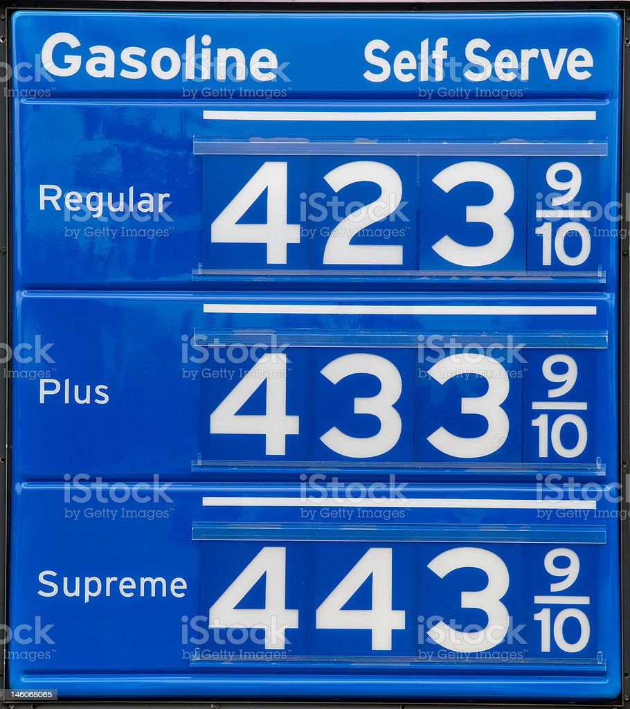 High price of gas sign stock photo