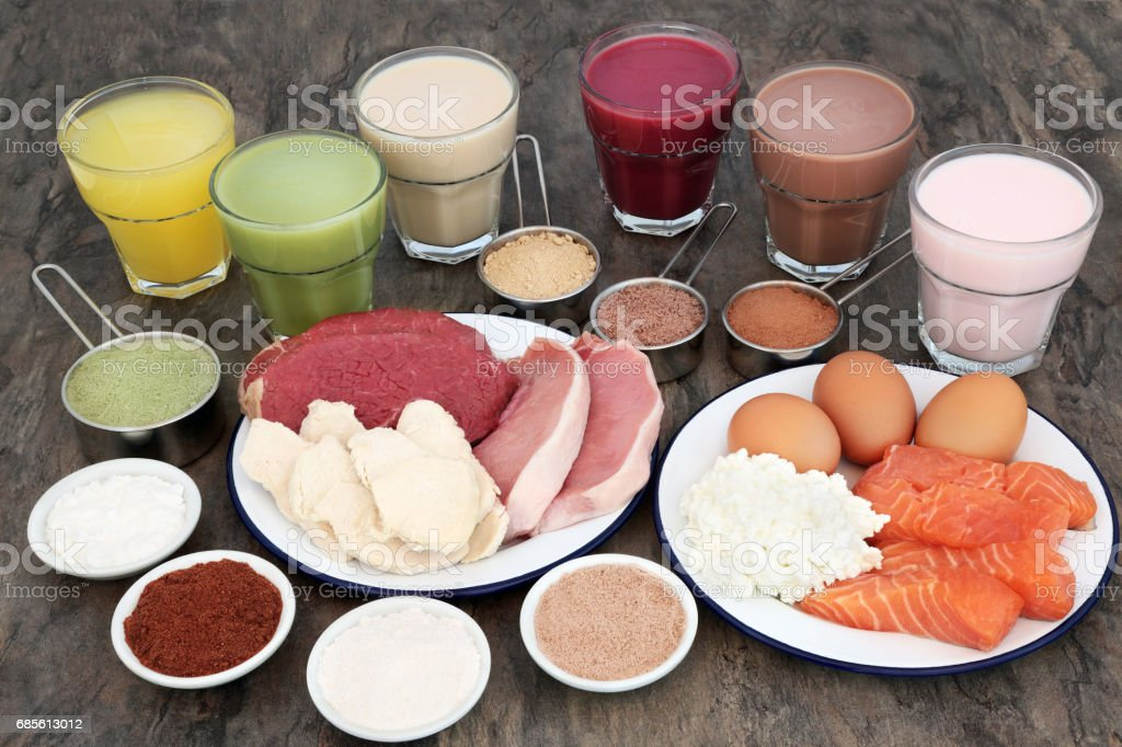 High Protein Food with Health Drinks stock photo